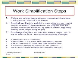 Operation Chart In Work Simplification Work Simplification Process