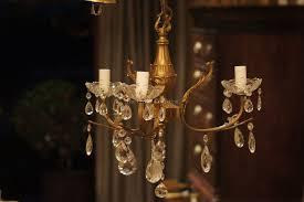 vintage 3 arm french bronze crystal chandelier