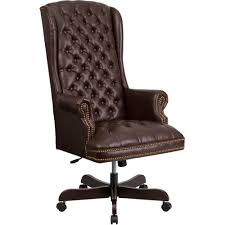 high back traditional tufted brown leather executive swivel office chair brown leather office chair