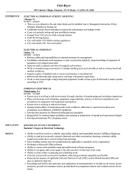 Electrical Foreman Resume Electrical Foreman Resume Samples Velvet Jobs 1