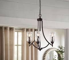 allen roth latchbury 3 light aged bronze transitional textured glass shaded chandelier