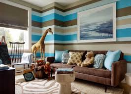 blue and brown living room ideas with dark brown sofa with blue pillows also with brown blue walls brown furniture