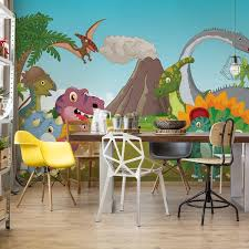 cartoon dinosaurs wall paper mural