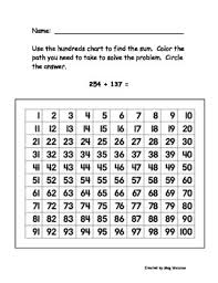 Three Hundred Chart Hundreds Chart 3 Digit Addition Common Core Alligned
