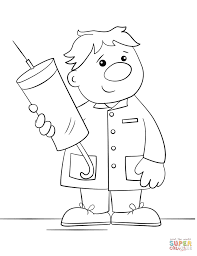 community helpers coloring page   free printable coloring pagescartoon doctor   a syringe