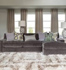 grey velvet sectional. Interior, Gray Couches Living Room Be Equipped With Velvet Oversized Sectional Sleeper Sofa Left Chaise Added Loght Cushions Grey S