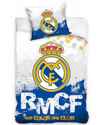 this real madrid cf rmcf single cotton duvet cover set is reversible and features the iconic