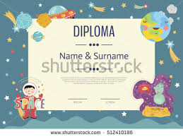 preschool elementary school kids diploma kids stock vector  preschool elementary school kids diploma kids certificate or diploma layout cartoon space diploma design
