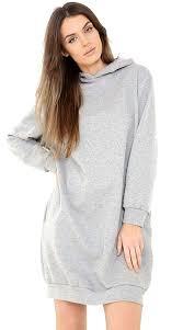 Light Grey Oversized Hoodie New Ladies Womens Oversize Baggy Long Sleeves Hoodies Hooded Tunic Dress Light Grey Uk Size M L 12 14