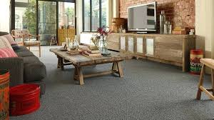 grey carpet for modern rustic living room ideas with log styled coffee table and blue co