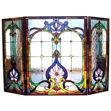 victorian fireplace screen stained glass fireplace screen victorian beveled glass fireplace screen