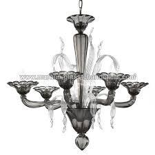 nereo murano glass chandelier 6 lights smoke and transpa color