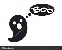 kleine cute ghost dat zegt boo zwart silhouet stockvector