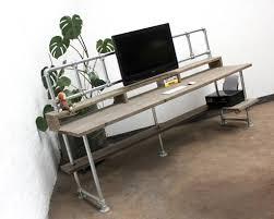 ethan scaffolding board desk with monitor mount rails
