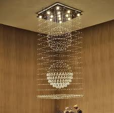 modern creative clear k9 crystal chandelier led ceiling villa stairs lighting