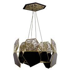 hypnotic polished brass and black glass vintage modern chandelier