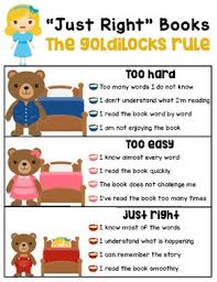 Just Right Book Chart Just Right Books Poster Goldilocks Five Finger Rule