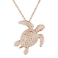 full pave sea turtle necklace