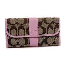 Coach Legacy In Signature Large Pink Wallets DUQ