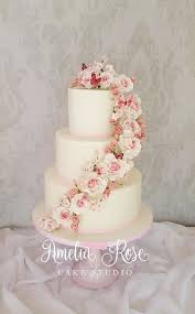 Pink Rose And Butterfly Cascade Wedding Cake Cake By Amelia Rose