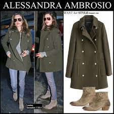 alessandra ambrosio in dark olive green wool military marlow coat by zadig voltairewith striped sweater
