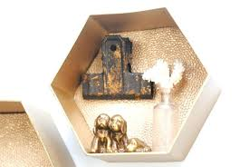 easy hexagon wall shelves never guess what made white honeycomb gold