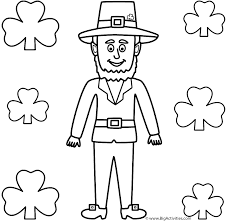 Leprechaun with Shamrocks - Coloring Page (St. Patrick's Day)