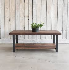 industrial reclaimed wood furniture. industrial reclaimed wood coffee table with walnut finish and matte black steel legs in furniture