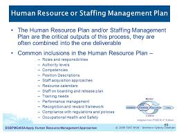 apply human resource management approaches introduction to human  human resource or staffing management plan