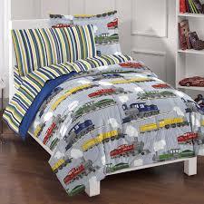 dream factory trains ultra soft microfiber boys comforter set blue twin