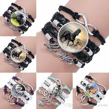 fashion horse glass cabochon infinity love leather bracelet for girls women time gemstone handmade woven jewelry gift drop ship 320046 friendship