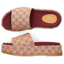 Designer Platform Flip Flops Gucci Platform Sandals Angelina Canvas Logo Beige Combo