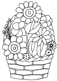 Small Picture Shocking Ideas Flower Basket Coloring Pages Flower Basket Coloring