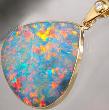 details about large australian opal diamond pendant 14k solid gold 12 7ct inlay red gem