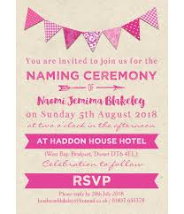 Pink Bunting Naming Ceremony Day Invitation