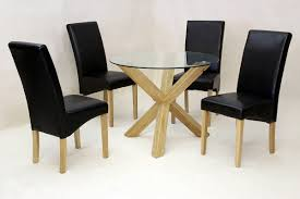 chinon round 95cm glass dining table with 4 leather chairs azura furniture uk
