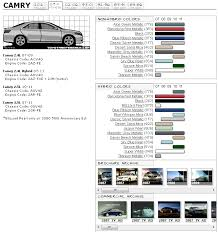 Camry 07 Color Spec Chart Camry Forums Toyota Camry Forum