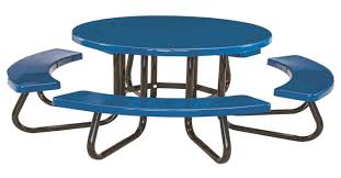 48 round children s fiberglass picnic table with 1 5 8 o d steel frame 169 lbs