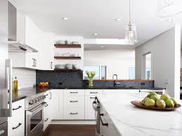 Modern White Kitchen Very Bright Modern White Kitchen With Freestanding Island And Dark