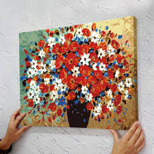 40 50cm stretched and framed art work frameless hand painted canvas painting by numbers