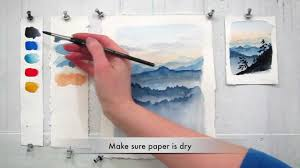 easy step by step watercolor tutorial painting the blue ridge mountains