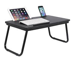 com sofia sam lap tray with tablet phone slots metal folding legs lap desk with tilting top laptop stand breakfast serving bed tray