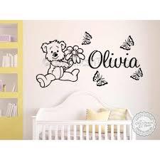 personalised teddy bear nursery wall sticker children s bedroom playroom wall decor decals