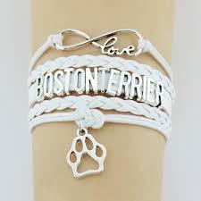infinity love bracelet. boston terrier handmade infinity love bracelet :