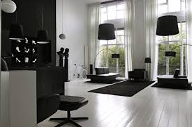 Spacious Modern White Living Room Ideas With Stylish And Luxurious Black  Furniture And Classy Decorations