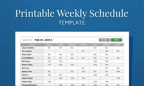 6 Week Work Schedule Template Free Printable Weekly Work Schedule Template For Employee Scheduling