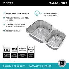 kraus 32 inch undermount 60 40 double bowl 16 gauge stainless steel kitchen sink with