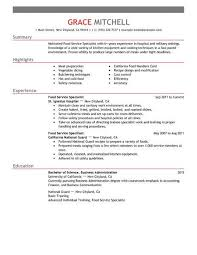 livecareer com simple food service specialist resume example livecareer