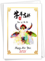 After all the trials of the leap year 2020, with its epidemics, crises and. Amazon Com The Best Card Company 2021 Chinese New Year Card With Envelope Colorful New Years Celebration Greeting Notecard Year Of The Ox C9179bcng 21 Office Products