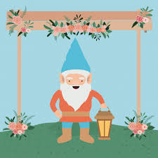 vector gnome character in the garden